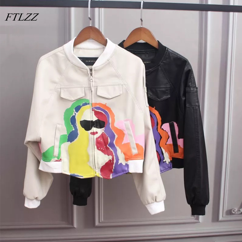 FTLZZ 2018 Autumn Women Pu   Leather   Jacket New Print Zippers Pockets Black Color Short Coat Female Faux   Leather   Jackets