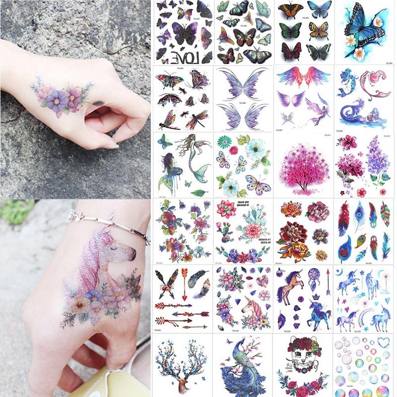 1 Sheet Glitter Colorful Flash Body Tattoo Waterproof Sticker Cartoon Unicorn Cat Butterfly Decal Temporary Children Tattoo Gift