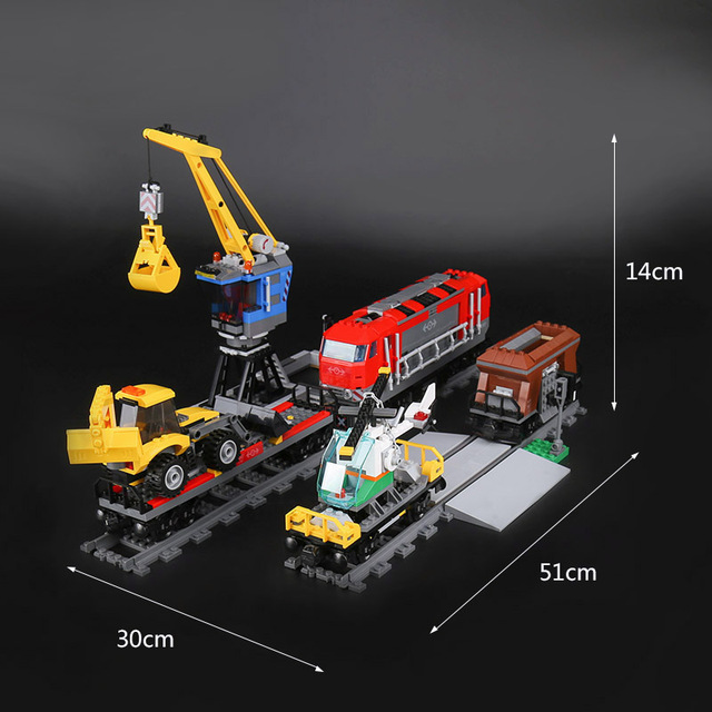 Model building toy 02009 Building Block Compatible with legoings 60098 city Train Rail Train Engineering Vehicle toy hobbies