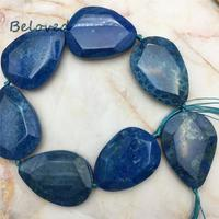 Teardrop Faceted Blue Chrysanthemum Agates Stone Nugget Loose Beads, Big Coral Jades Quartz Gems Jewelry Making Beads, BG18240