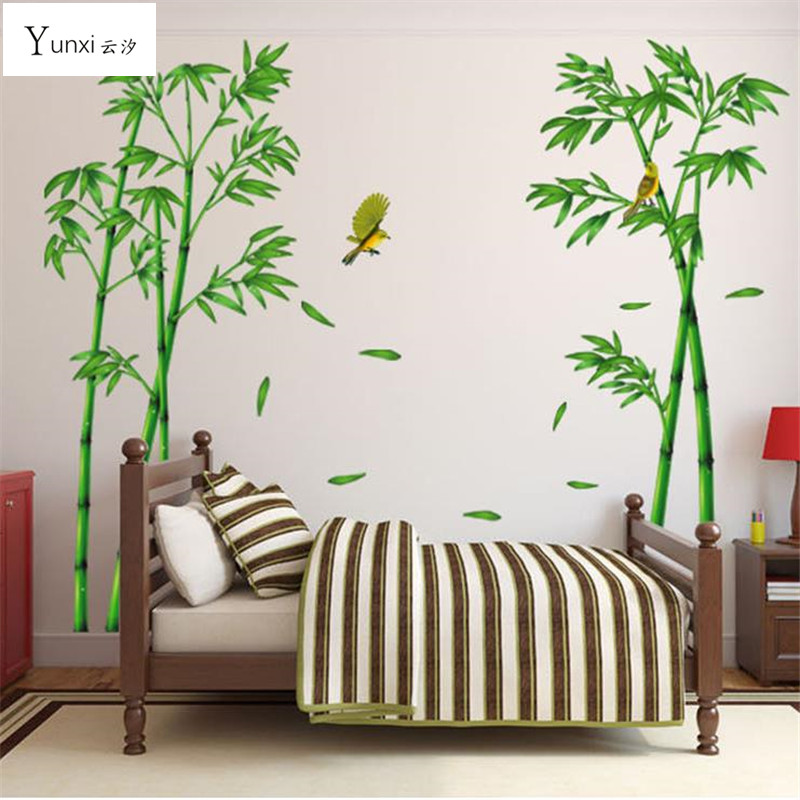 large size bamboo birds tree diy vinyl wall stickers home decor kids rooms art decals 3d. Black Bedroom Furniture Sets. Home Design Ideas