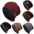 Promoción de ventas 6 Colores Sombreros de Invierno para Los Hombres de Color Sólido de Punto Flocado Warm Balaclava Sombreros de la Gorrita Tejida Del Capo Femme