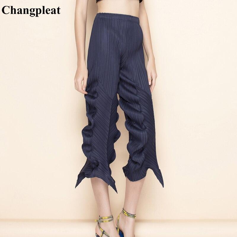 Changpleat 2019 ฤดูร้อนใหม่ผู้หญิงไม่สม่ำเสมอกางเกง Miyak จีบแฟชั่นเอวหญิงข้อเท้ายาวกางเกง P79796-ใน กางเกงและกางเกงรัดรูป จาก เสื้อผ้าสตรี บน   1
