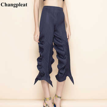 Changpleat 2019 summer New irregular Women Pants Miyak Pleated Fashion Solid elastic waist Female Ankle-Length pants Tide P79796 - DISCOUNT ITEM  34% OFF All Category
