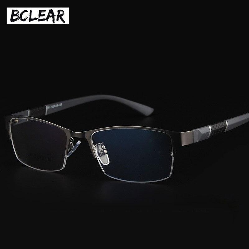 BCLEAR 2018 חדש הגעה חצי רים מסגרות סגסוגת גמיש פלסטיק TR90 מקדש רגליים אופטי משקפיים מסגרת גברים Eyewear