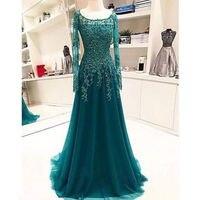 Зеленый Тюль Аппликации Формальное вечернее платье с длинным рукавом коктейльное платье на заказ