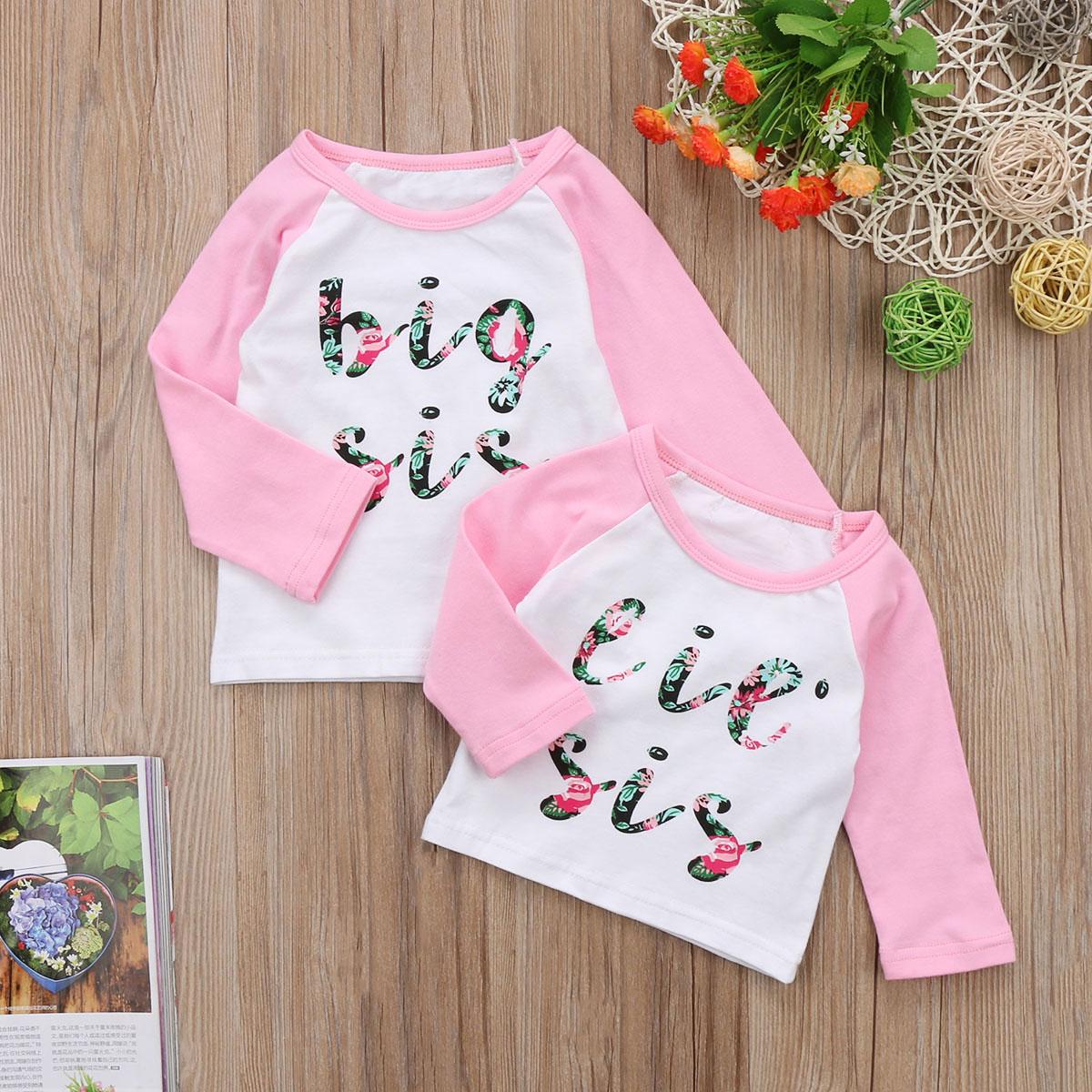 1 STÜCK Neugeborenen Baby Kleine Sis Big Sister T-shirt Top passenden Outfits Nette Blumendruck Baumwolle Langarm-shirt Für 0-7Y