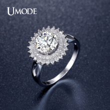 UMODE Brand Jewelry New Engagement Wedding Rings For Women Rhodium plated Big Flower Crystal Rings Bijoux Aneis Bague AUR0362