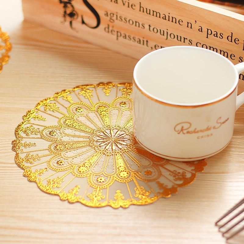 Inventory Nervous 4pcs/set Luxury Gold Heat Insulation Mats PVC Flower Table Pot Pad Cup Mat Insulation Mat-001
