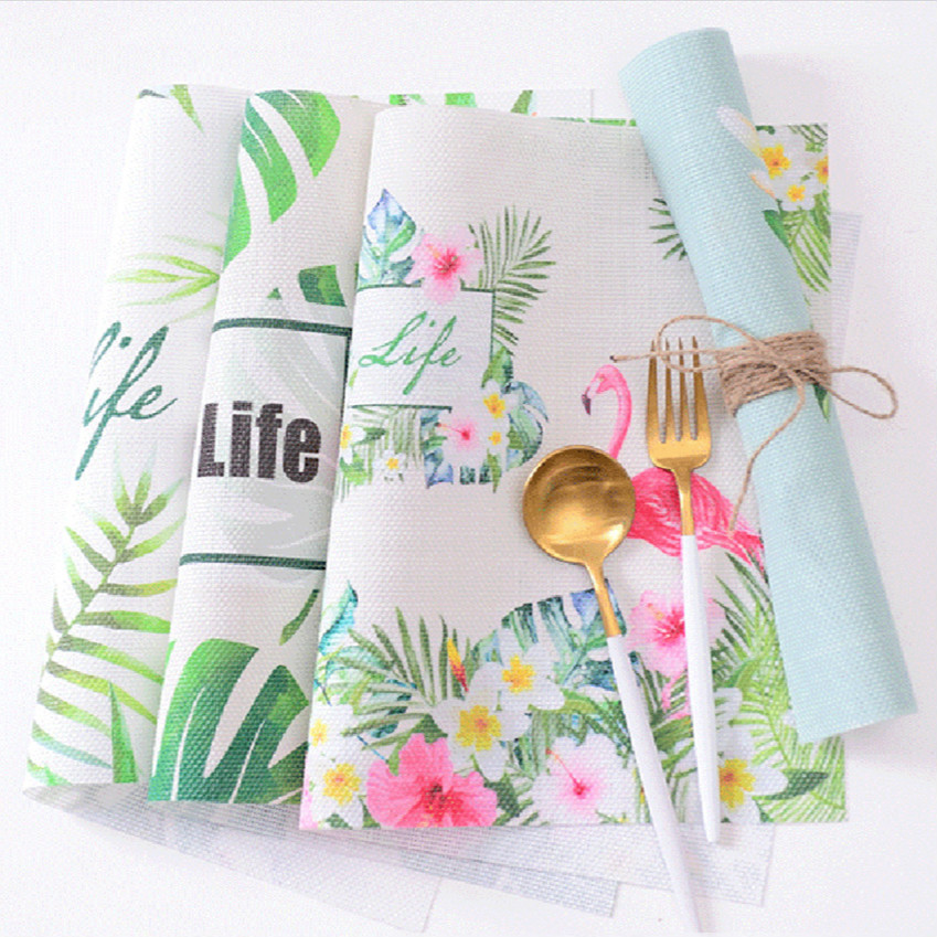 Tropical Plants Flamingo Placemat Dining Table Coasters Insulation Mat Square PVC Waterproof Kitchen Accessories Decoration Home