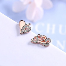 KOFSAC Fashion 925 Sterling Silver Stud Earrings For Women Jewelry Asymmetry Zircon 520 Heart Girl Valentines day Gift