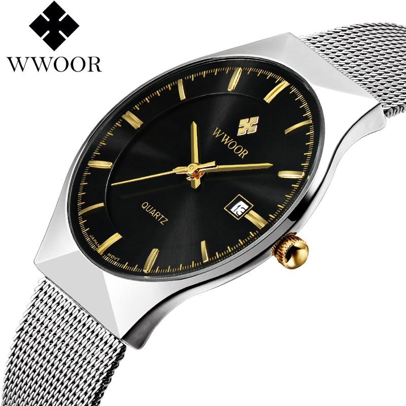 Prix pour WWOOR Hommes de Montres Nouvelle marque de luxe montre homme Mode sport quartz-montre en acier inoxydable maille sangle ultra mince cadran date horloge