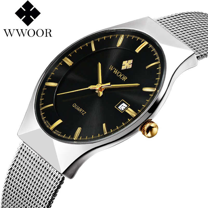 WWOOR Men's Watches New luxury brand watch men Fashion sports quartz-watch stainless steel mesh strap ultra thin dial date clock цена