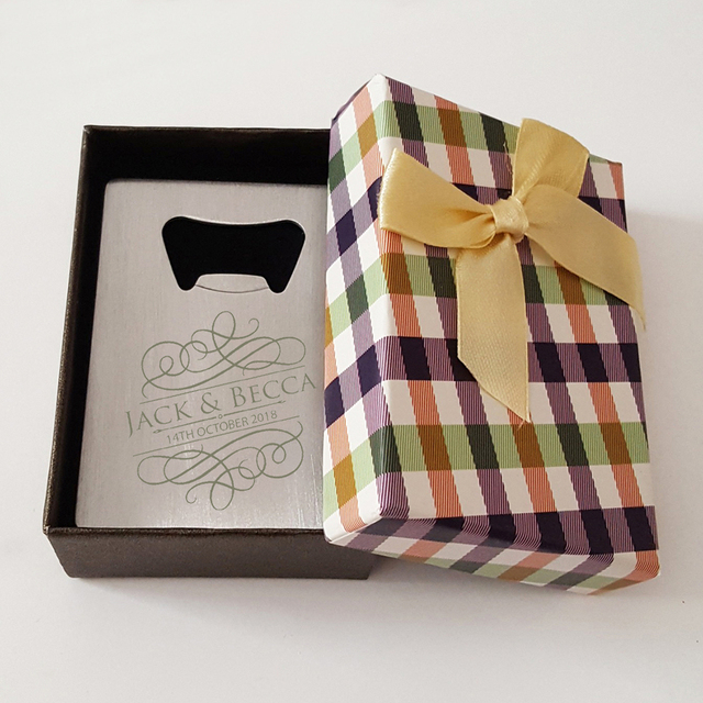 Personalized Card Bottle Opener In Box Personalized Wedding Party