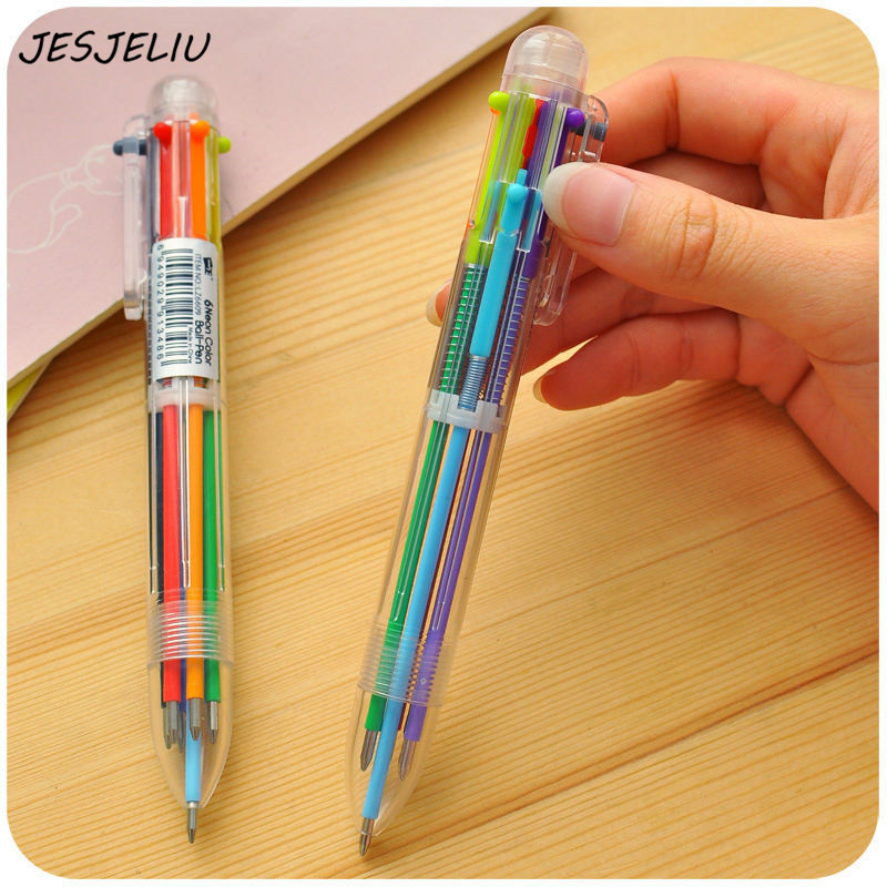 New Arrival 1pcs Novelty Multicolor Ballpoint Pen Multifunction 6 In1 Colorful Stationery Creative School Supplies