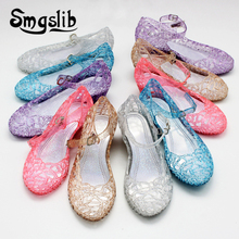 Girls Beach Sandals Kids Shoes Children Princess Jelly Wedge Fashion Elsa Shoes Crystal Sandals For Girls Shoes Hollow Out Flats kids hollow out flats
