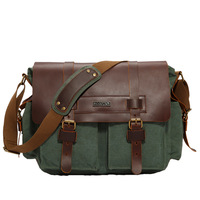 2016 Canvas Genuine Leather Men Messenger Bags Vintage Student School Bags Satchel Casual Crossbody Men S