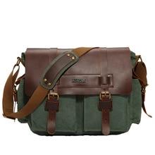 2016 Canvas PU Leather Men  Messenger Bags Vintage Student School Bags Satchel Casual Crossbody Men's Travel Shoulder Bags