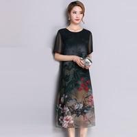 Female Silk Dress 2018 Summer Fashion Floral Print O neck Short Sleeve Long Dresses Ladies Elegant Casual Silk Vestidos FP0783