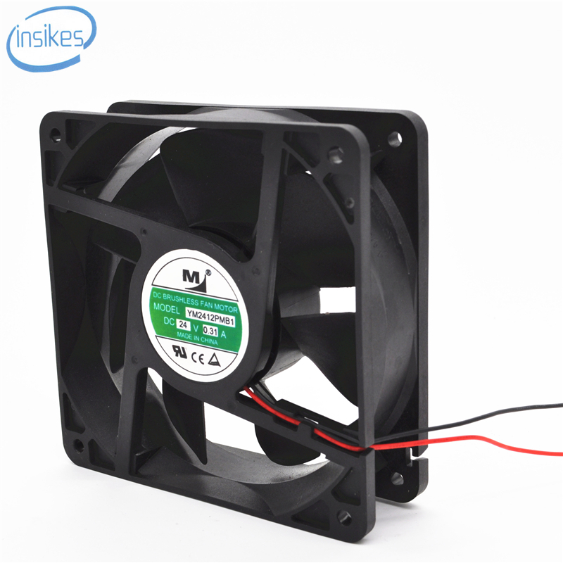 YM2412PMB1 Cabinet Inverter Cooling Fan DC 24V 0.31A 12038 12CM 120*120*38mm 2 Wires original delta ffb1224she 12cm 120mm 12038 120 120 38mm 24v 1 20a cooling fan