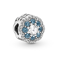 2019 Garden Collection Beads Fits Pandora Bracelets Charms Silver 925 Original 2019 Blue Sparkle Flower Charm Beads DIY Jewelry.