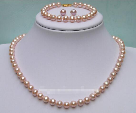 Free Shipping Whole Price 7 8mm Peach Colour Freshwater Pearl Necklace Bracelet Earrings Set 30 In Jewelry Sets From Accessories On