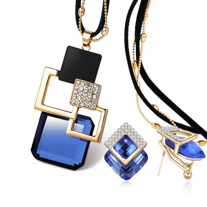 2017 New Fashion personality Hollow Geometric Big Crystal long Necklace earrings Jewelry Sets for women party fine Jewelry