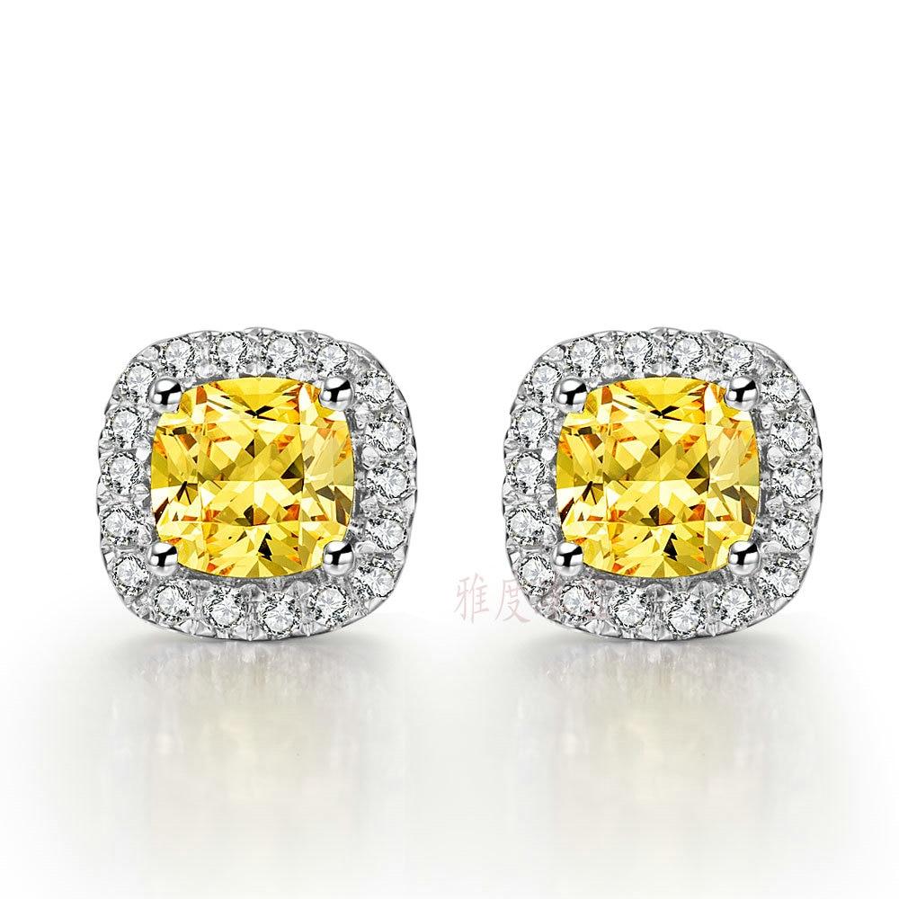 Gold-Earrings Diamond Au585 White Love 14K Simulate Cushion-Shape Best-Style Super-Star