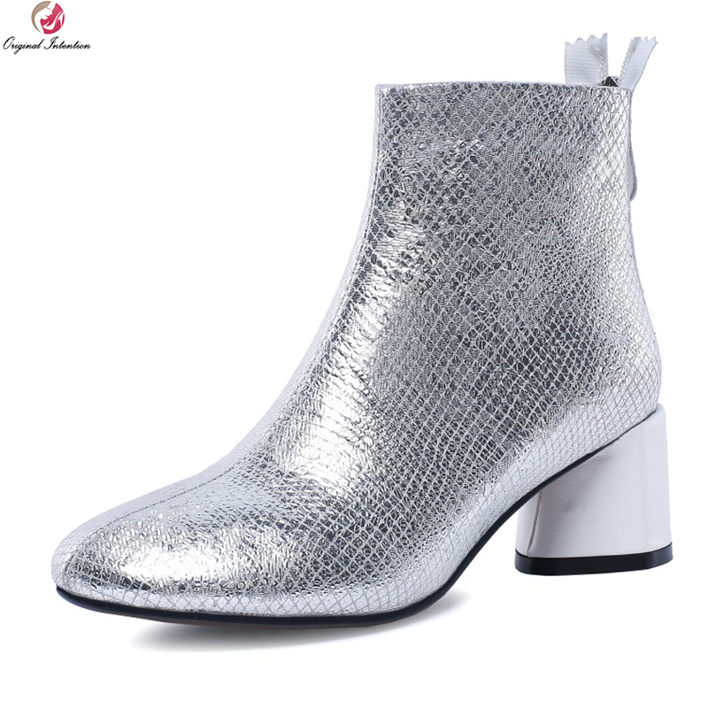 Original Intention Elegant Women Ankle Boots Leather Round Toe Square Heels Boots Black Silver Shoes Woman Plus US Size 4-10.5 цены онлайн