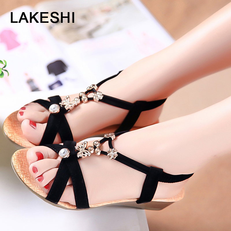 Ladies Sandals 2018 New Women Sandals Casual Flat Shoes Fashion Peep Toe Summer Beach Sandals String Bead Bohemian Wedge Sandals new casual women sandals shoes summer fashion slip on female sandals bohemian wild ladies flat shoes beach women footwear bt537