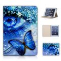 Butterfly Blue Eye Flip PU Leather Sleep Wake up mode Back Case For Ipad Mini 3 2 1 With Screen Protector