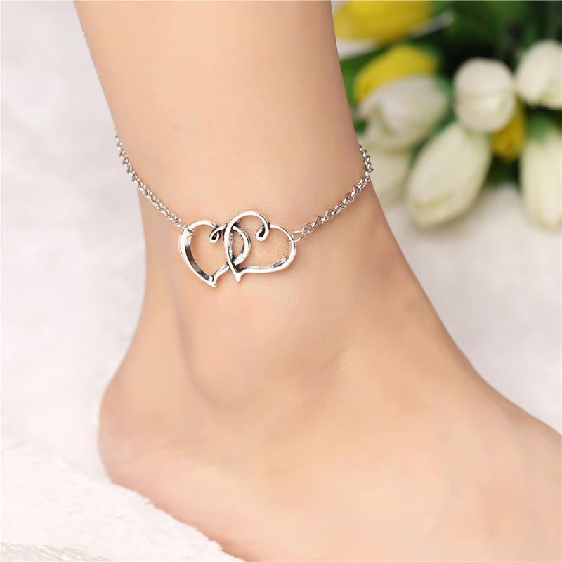 Retro Punk 2020 New Summer Fashion Anklets Wild Love Heart-shaped Double-hearted Anklet Lady Legs Anklet Wholesale