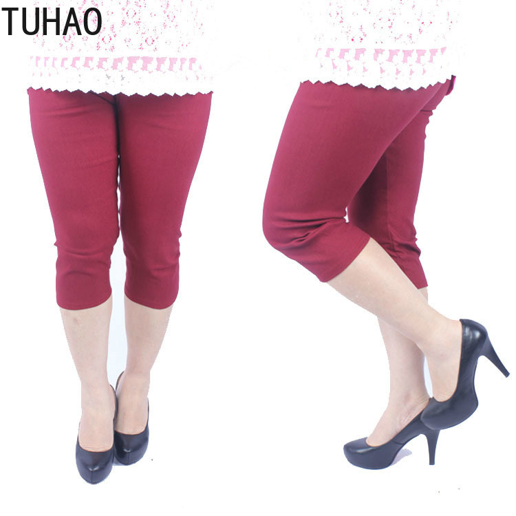 TUHAO Summer Sweet Candy Color High Elastic Waist Women Pencil Pants Capri Stretch Plus Size 5xl 4xl 3xl 2019 Female Trousers