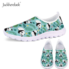 Jackherelook Fashion Women's Cute Panda Print Sneakers Summer Slip On Flats Shoes Walking Casual Shoes Breathable Mesh Loafers