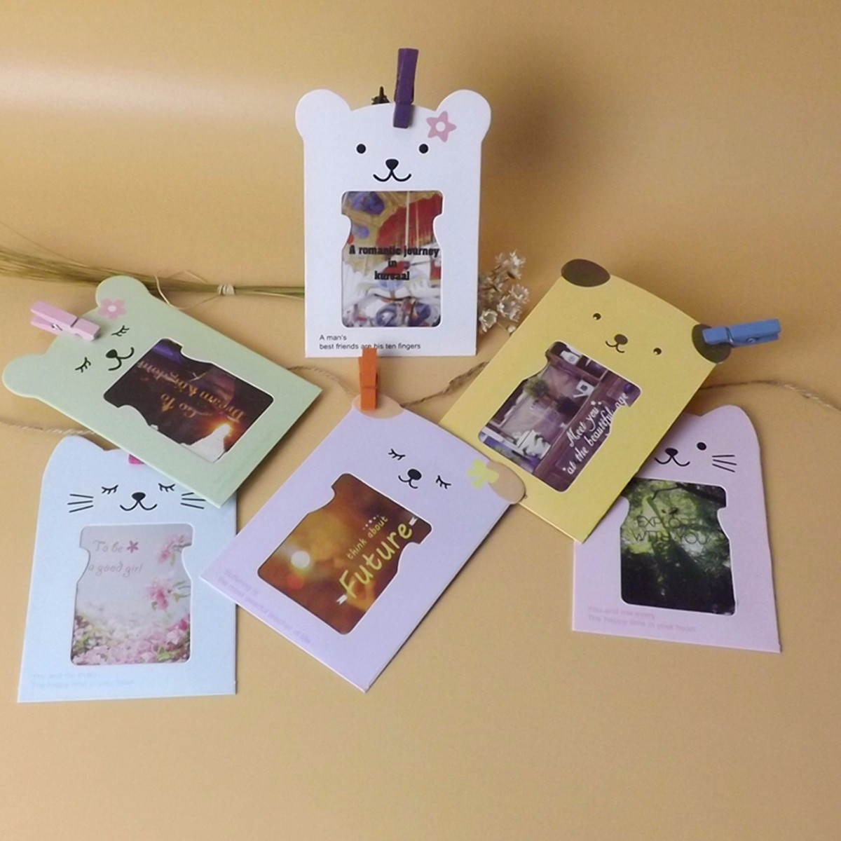 Set 3' Paper Cartoon Hanging Album With Clips  Rope Diy Wall Hanging Picture Photo Frame Display Home Decor From Reliable