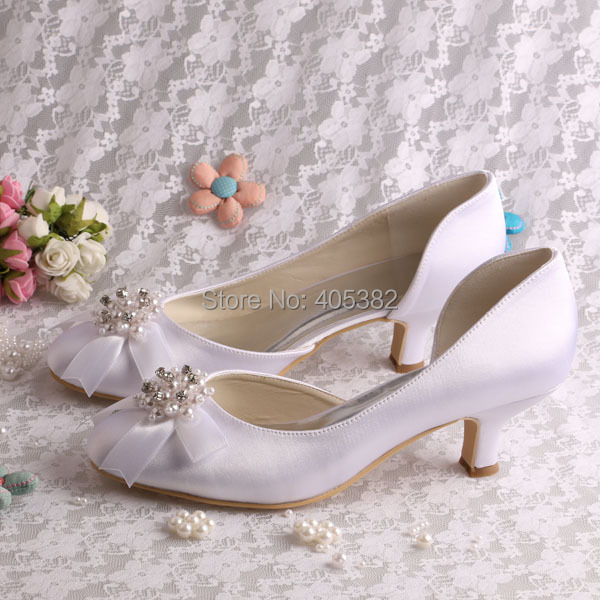 (20 Colors)New Style 2015 White Low Heel Wedding Shoes Closed Toe Size 10 Dropshipping