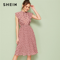 SHEIN Pink Tie Neck Ruffle Trim Dot Pleated Summer Midi Dress Women Cap Sleeve Stand Collar Fit and Flare Vintage Empire Dresses
