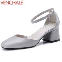 VENCHALE Newest Shallow Buckle Concise Square Toe Genuine Cow Leather Pumps Skid Resistance Med Thick Heels