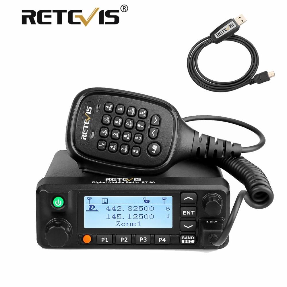 Retevis RT90 Voiture Talkie Walkie VHF UHF Double Bande DMR GPS Numérique Mobile Émetteur-Récepteur Radio 50 w Jambon Amateur Radio + programme Câble
