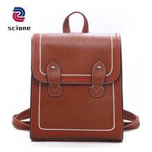 Купить с кэшбэком High Quality Vintage Leather Backpack Multifunction Women Shoulder Bag Mochila School Bag For Teenag Girls Casual Travel Bags
