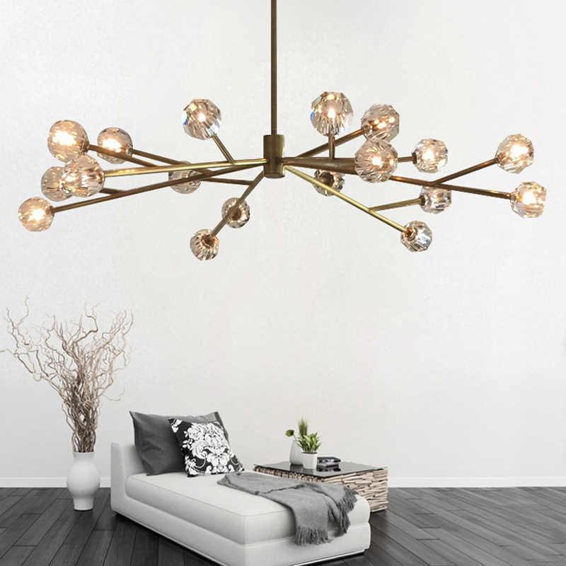Nordic люстры для столовой Современная дизайнерская хрустальная люстра лампы для гостиной Американский спальня молекулярная висит освещения