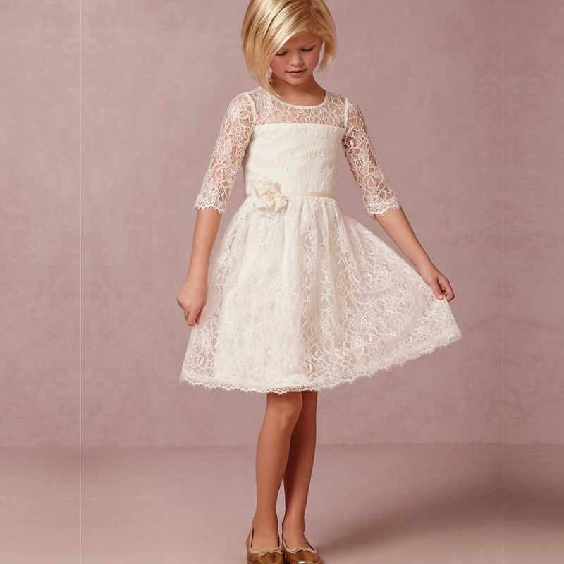 2016 Vintage Ivory Lace   Flower     Girl     Dresses   Half Sleeve Short First Communion Vestido De Daminha With Handmade   Flowers   Cheap