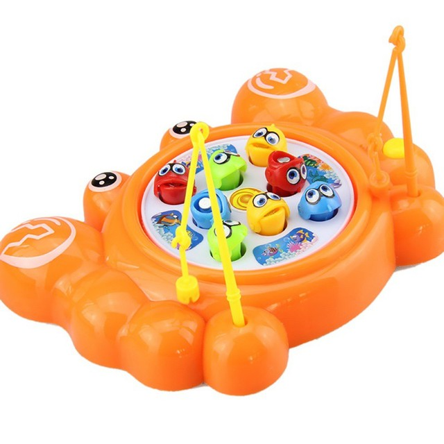 New Design Baby Toys Electric Fishing Games Cartoon Crab Fishing Magnetic Fishing Plate Double Layer Fishing Games 4 Styles