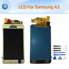 For Samsung Galaxy A3 2015 A3000 LCD display touch screen digitizer home button complete assembly replacement black white gold