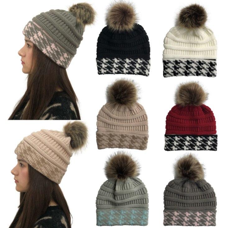 100pcs Fashion Thermal Cap  Thousand-bird-lattice wool ball knitted cap