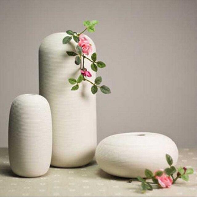 3 Pcs White Ceramic Flower Vase Luxurious Home Wedding Decorative