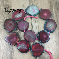 Freeform Wine Red Agates Slice Beads with Blue Edges,Agat Druzy Slab Pendant Beads For Jewelry Making MY1703