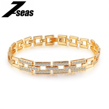 7SEAS Luxury Gold Color Bracelet For Women Pave Cubic Zirconia Gorgeous Ladies Female Friendship Brecelet Bradial Jewelry JM500(China)