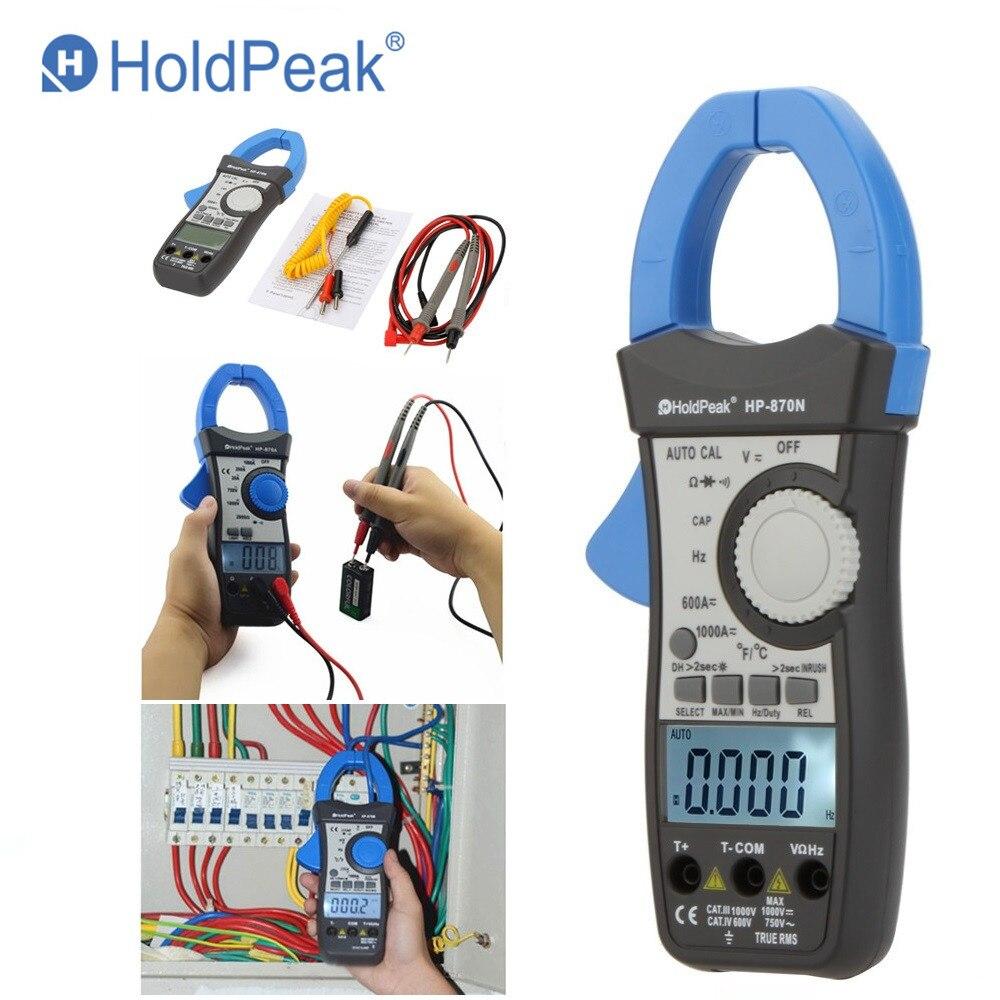 HoldPeak HP-870N Auto Gamme DC AC Numérique Pince Multimètre Multimètre Pinza Amperimetrica Amperímetro Vrai RMS Fréquence Rétro-Éclairage