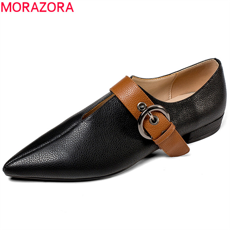 MORAZORA black brown fashion spring autumn single flat shoes woman pointed toe mixed colors women flats genuine leather shoes